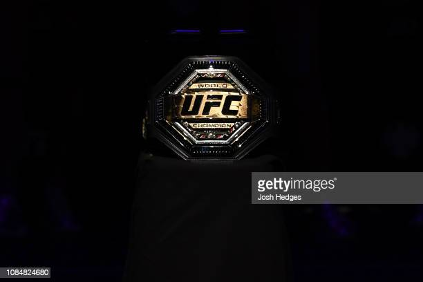 A general view of the new UFC Legacy Championship Belt during the UFC Fight Night weighin at Barclays Center on January 18 2019 in the Brooklyn...