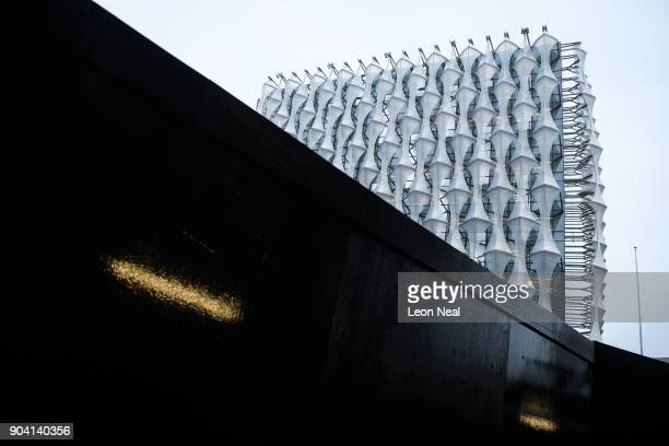 A general view of the new US embassy on the day that soldiers prepare to raise the American flag for the first time on January 12 2018 in London...