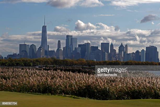 A general view of the New York city skyline seen from the 10th hole during the third round of the Presidents Cup at Liberty National Golf Club on...