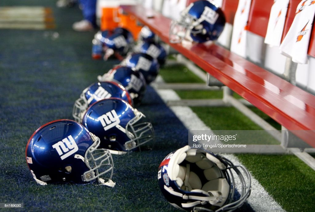 A general view of the New York Giants helmets before the game against the New England Patriots at Super Bowl XLII on February 3, 2008 at University of Phoenix Stadium in Glendale, Arizona. The Giants defeated the Patriots 17-14.