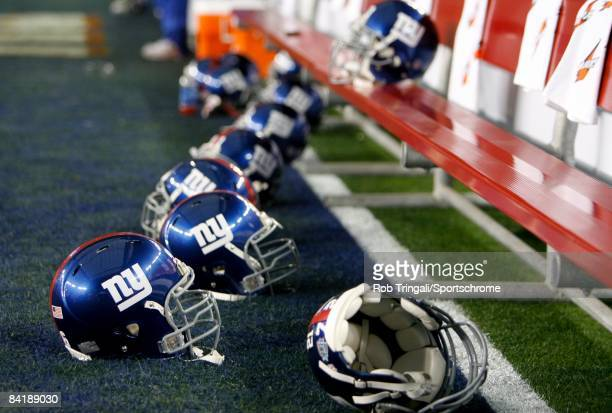 A general view of the New York Giants helmets before the game against the New England Patriots at Super Bowl XLII on February 3 2008 at University of...