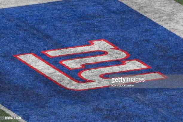 A general view of the New York Giants logo prior to the National Football League game between the New York Giants and Buffalo Bills on September 15...