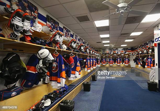 General view of the New York Islanders locker room as photographed prior to the final regular season game at the Nassau Veterans Memorial Coliseum on...