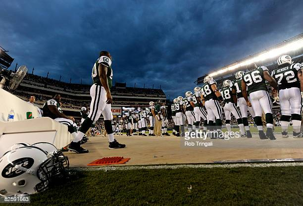 A general view of the New York Jets bench during a game against the Philadelphia Eagles at Lincoln Financial Field on August 28 2008 in Philadelphia...