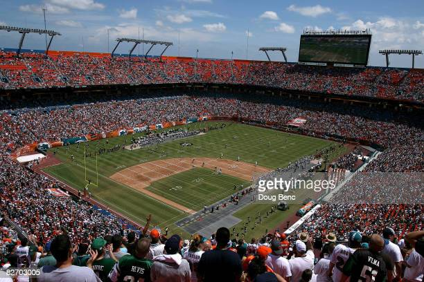 General view of the New York Jets kick the opening kickoff to the Miami Dolphins at Dolphin Stadium on September 7, 2008 in Miami, Florida.