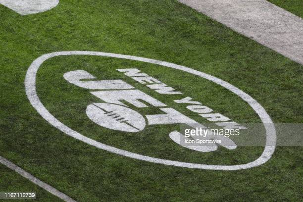 A general view of the New York Jets logo during the first quarter of the National Football League game between the New York Jets and the Buffalo...