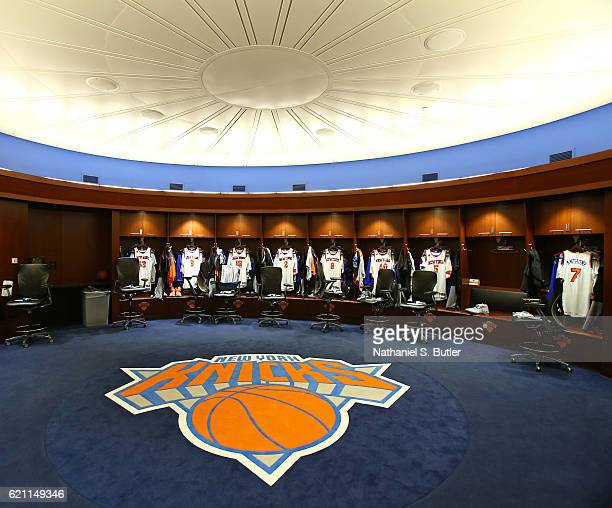 A general view of the New York Knicks locker room at Madison Square Garden before the game against the Memphis Grizzlies on October 29 2016 in New...