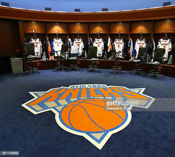 General view of the New York Knicks locker room at Madison Square Garden before the game against the Memphis Grizzlies on October 29, 2016 in New...