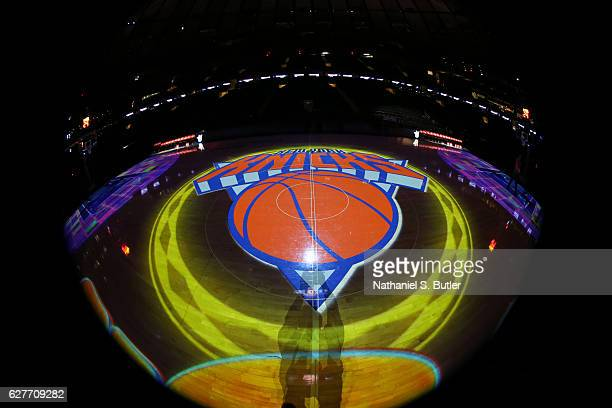 A general view of the New York Knicks logo before a game against the Sacramento Kings on December 4 2016 at Madison Square Garden in New York City...