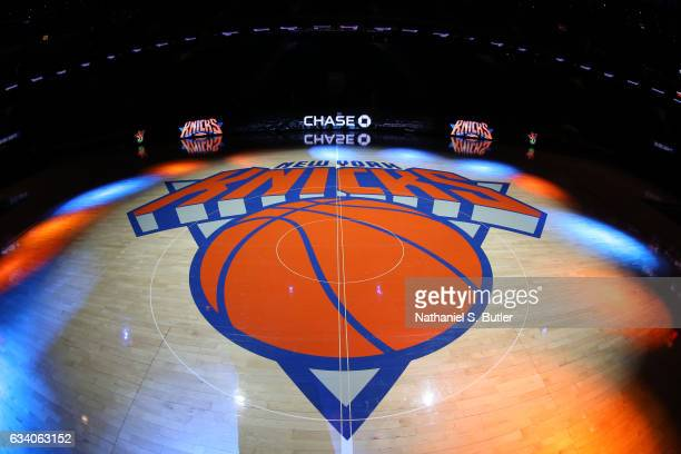 A general view of the New York Knicks logo before a game against the Los Angeles Lakers on February 6 2017 at Madison Square Garden in New York City...