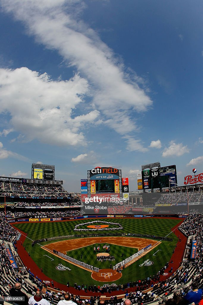 General view of the New York Mets and San Diego Padres line up during the National Anthem on opening day at Citi Field on April 1, 2013 in the Flushing neighborhood of the Queens borough of New York City.