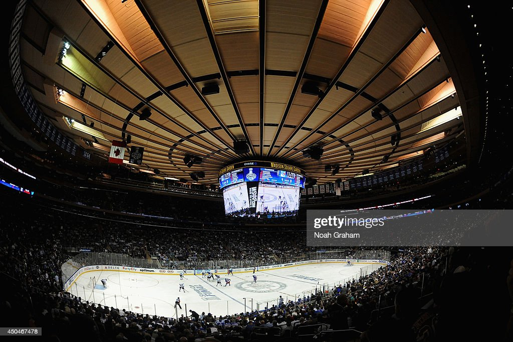 A general view of the New York Rangers and the Los Angeles Kings as they face off in the first period of Game Four of the 2014 Stanley Cup Final at Madison Square Garden on June 11, 2014 in New York City.