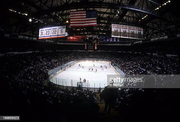 General view of the New York Rangers and the New York Islanders circa 1992 at the Nassau Coliseum in Uniondale New York