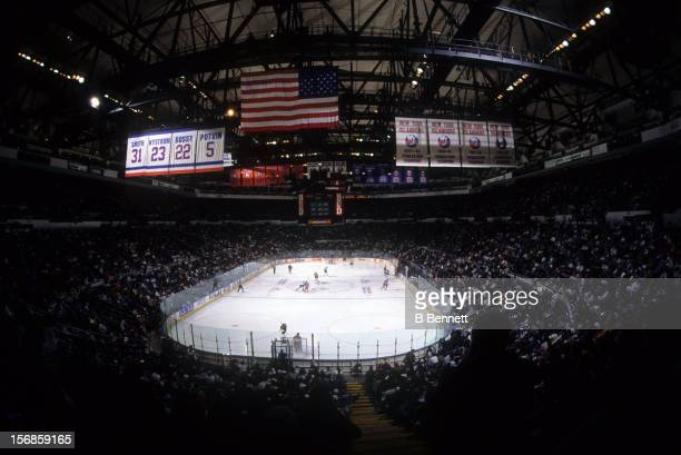 General view of the New York Rangers and the New York Islanders game circa 1990's at the Nassau Coliseum in Uniondale, New York.