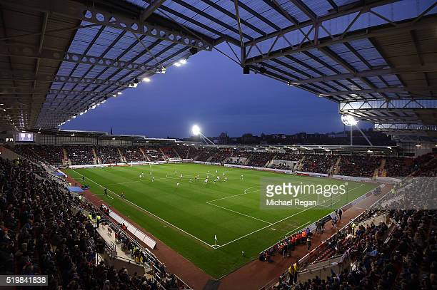 A general view of The New York Stadium during the UEFA Women's European Qualifer between England and Belgium at The New York Stadium on April 8 2016...