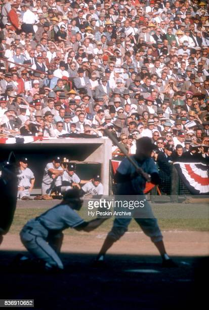 General view of the New York Yankees dugout as players watch the action during Game 5 of the 1957 World Series between the New York Yankees and...