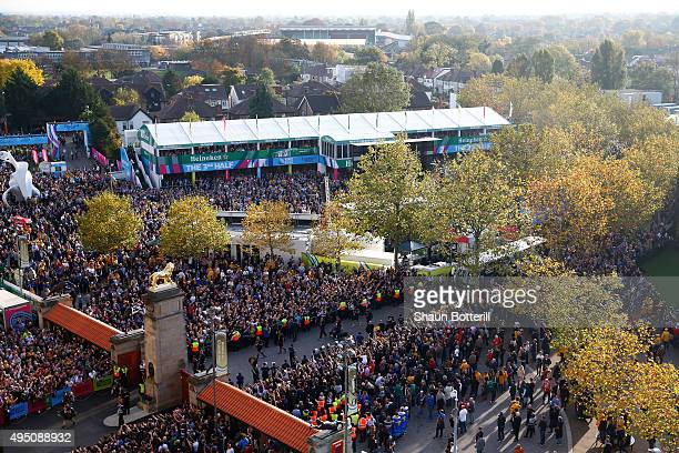 A general view of the New Zealand team arriving for the 2015 Rugby World Cup Final match between New Zealand and Australia at Twickenham Stadium on...