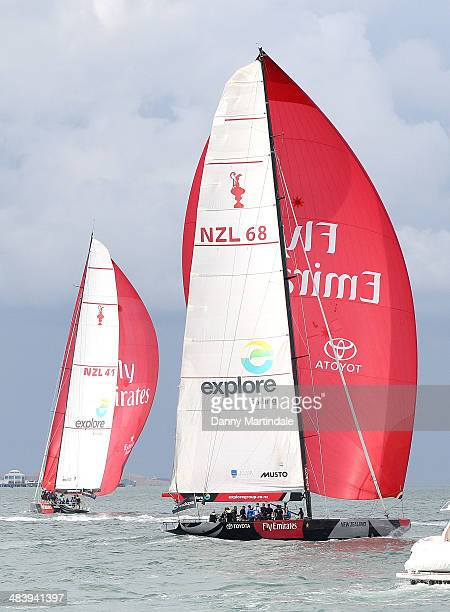 General view of the New Zealand's Americas Cup Team yacht being raced by Catherine Duchess of Cambridge and Prince William Duke of Cambridge during...