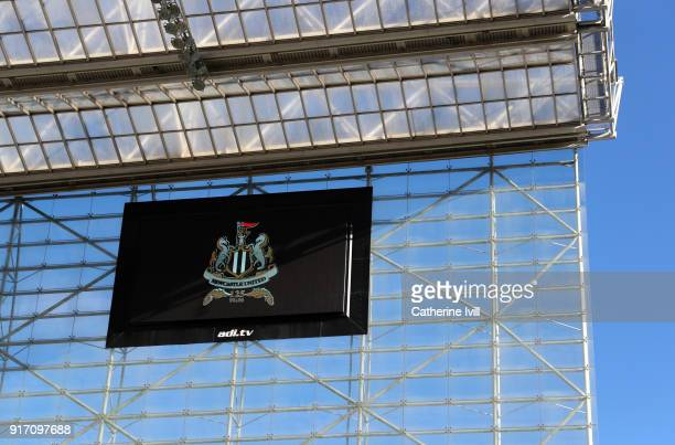 General view of the Newcastle United club badge during the Premier League match between Newcastle United and Manchester United at St James Park on...