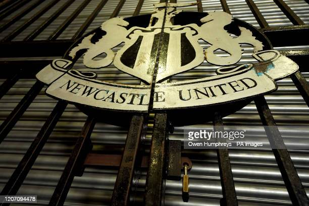 General view of the Newcastle United sign outside St James' Park, home of Newcastle United Football Club, following yesterday's announcement that the...