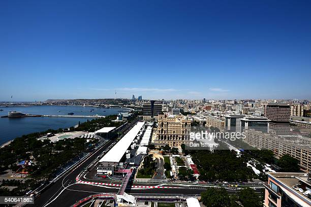 A general view of the newest circuit in F1 during previews ahead of the European Formula One Grand Prix at Baku City Circuit on June 16 2016 in Baku...