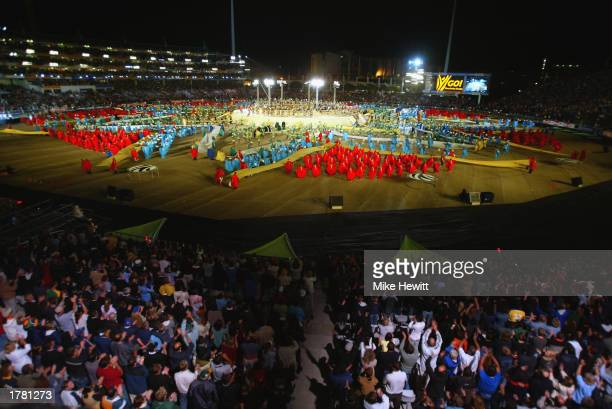 A general view of the Newlands Cricket Ground as artists perform during the ICC Cricket World Cup Opening Ceremony held on February 8 2003 at the...