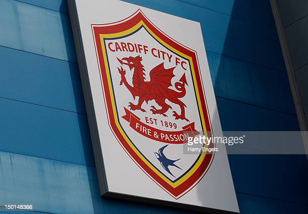 A general view of the newly designed club crest on the exterior of the stadium prior to the preseason match between Cardiff City and Newcastle United...