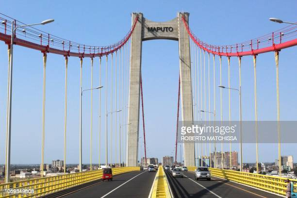 A general view of the newly inaugurated MaputoKatembe bridge taken on November 10 2018 in Maputo Mozambique Mozambique's President Filipe Nyusi...