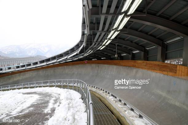 A general view of the newly opened Alpensia Sliding Centre on February 9 2017 in Pyeongchanggun South Korea
