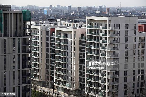 General view of the newly transformed 'East Village' near the Olympic Stadium on March 5, 2014 in London, England. The former athletes' accommodation...