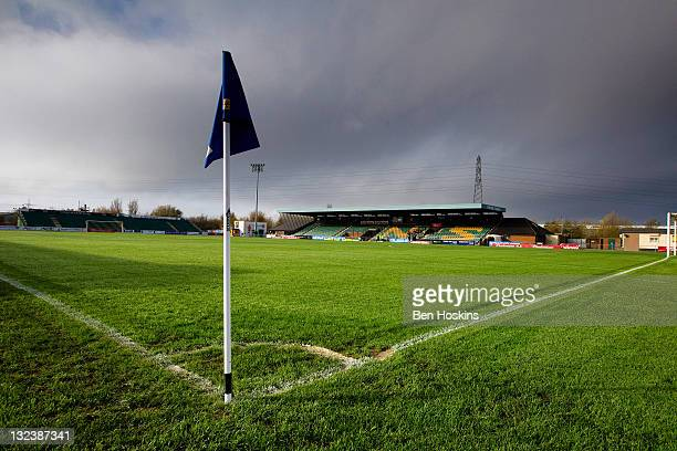 A general view of the Newport Stadium before the FA Cup sponsored by Budweiser First Round match between Newport County AFC and Shrewsbury Town at...