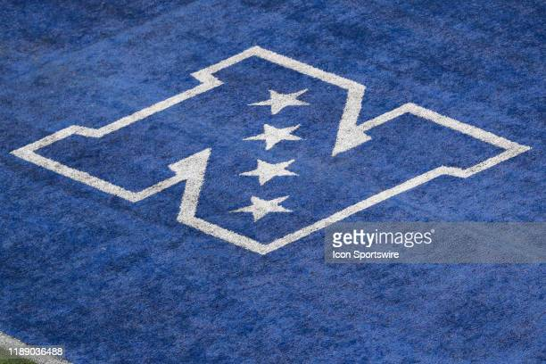 General view of the NFC end zone logo during the National Football League game between the New York Giants and the Miami Dolphins on December 15,...