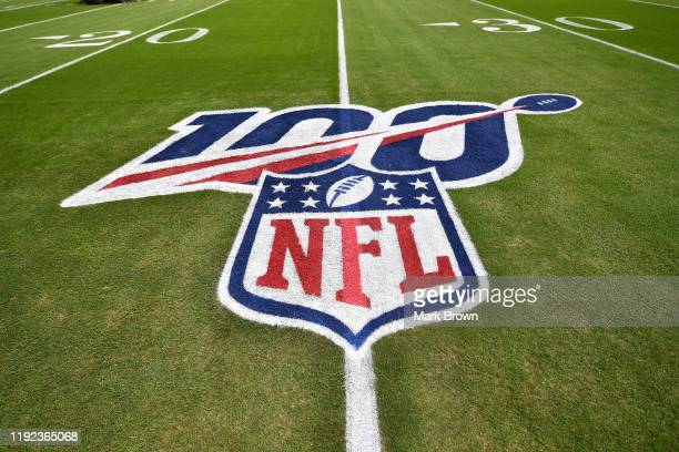 A general view of the NFL 100 logo on on the field prior to the game between the Miami Dolphins and the Philadelphia Eagles at Hard Rock Stadium on...
