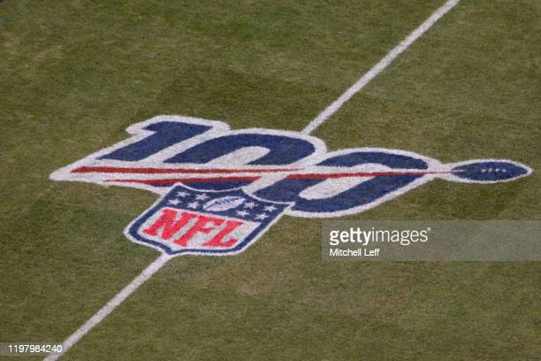 A general view of the NFL 100 logo prior to the NFC Wild Card game between the Seattle Seahawks and Philadelphia Eagles at Lincoln Financial Field on...