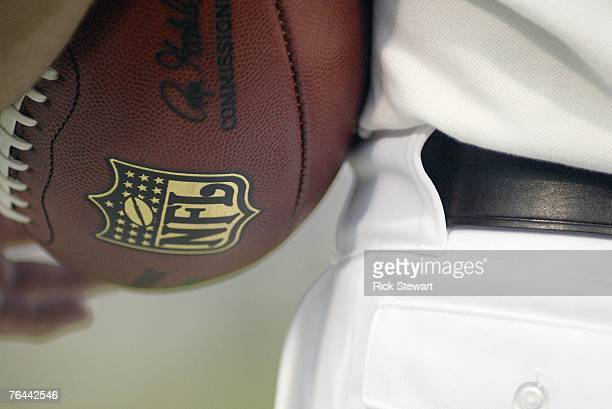 A general view of the NFL football and logo taken during the game between the Buffalo Bills and the Tennessee Titans at Ralph Wilson Stadium August...