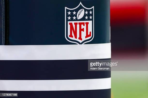 A general view of the NFL logo before a game between the New England Patriots and the Las Vegas Raiders at Gillette Stadium on September 27 2020 in...