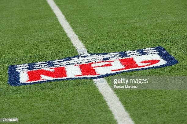 General view of the NFL logo on the field taken during the game between the Dallas Cowboys and the Detroit Lions at Texas Stadium on December 31,...