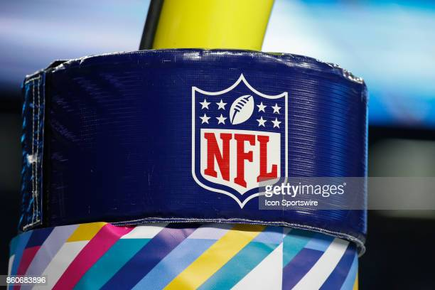 A general view of the NFL logo on the goal post padding during game action between the Carolina Panthers and the Detroit Lions on October 8 2017 at...