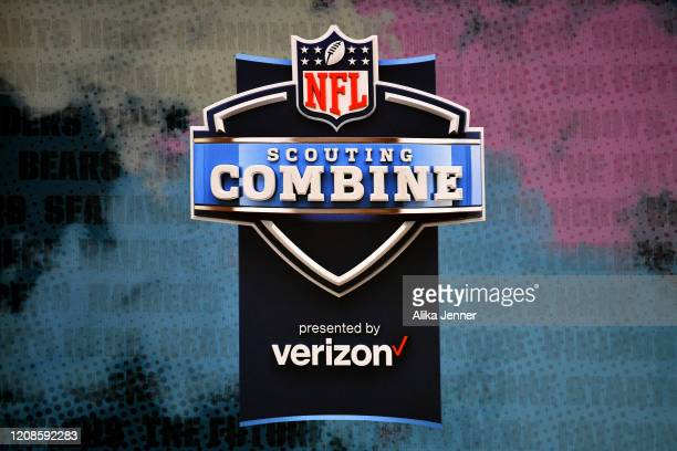 General view of the NFL Scouting Combine logo during the first day of the NFL Scouting Combine at Lucas Oil Stadium on February 25, 2020 in...