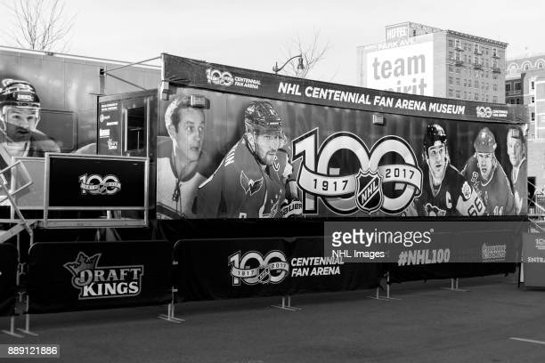 A general view of the NHL Centennial Fan Arena Truck on Cass Avenue on December 3 2017 in Detroit Michigan