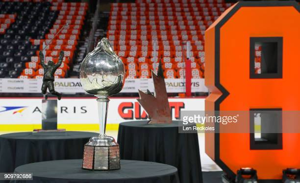 A general view of the NHL Hart Trophy and arena is shown prior to the Eric Lindros Jersey Retirement Night ceremony on January 18 2018 at the Wells...