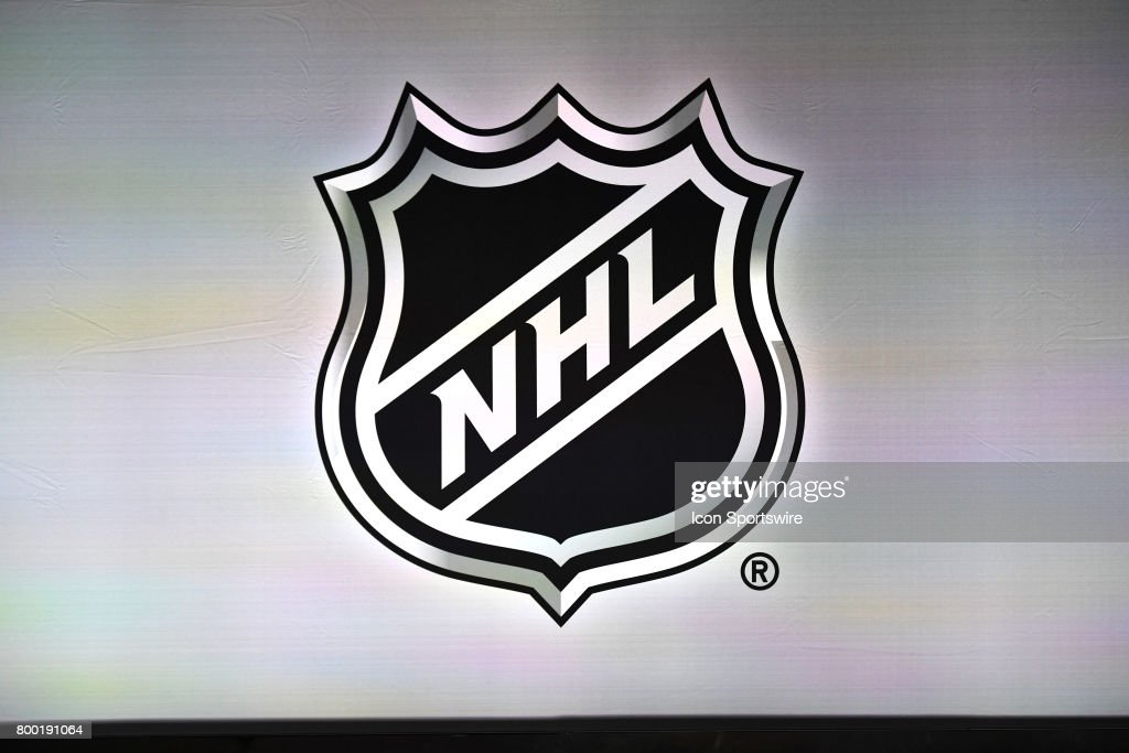 A general view of the NHL logo prior to the first round of the 2017 NHL Draft on June 23, 2017, at the United Center, in Chicago, IL.