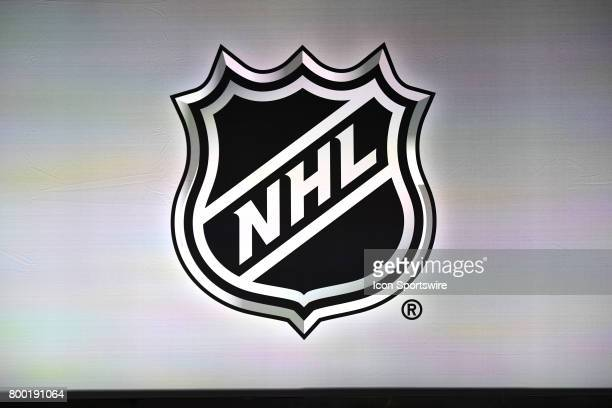 A general view of the NHL logo prior to the first round of the 2017 NHL Draft on June 23 at the United Center in Chicago IL