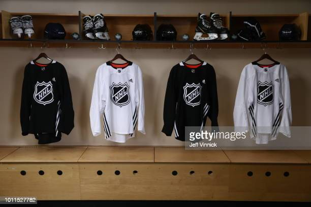 A general view of the NHL portrait setup during the first round of the 2018 NHL Draft at American Airlines Center on June 22 2018 in Dallas Texas