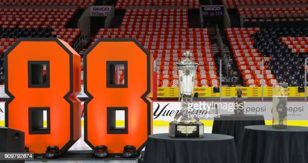 A general view of the NHL Prince Wales Trophy and arena is shown prior to the Eric Lindros Jersey Retirement Night ceremony on January 18 2018 at the...