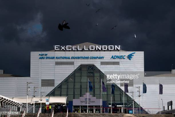 A general view of the NHS Nightingale hospital at the Excel on March 30 2020 in London England The field hospital will initially contain 500 beds...