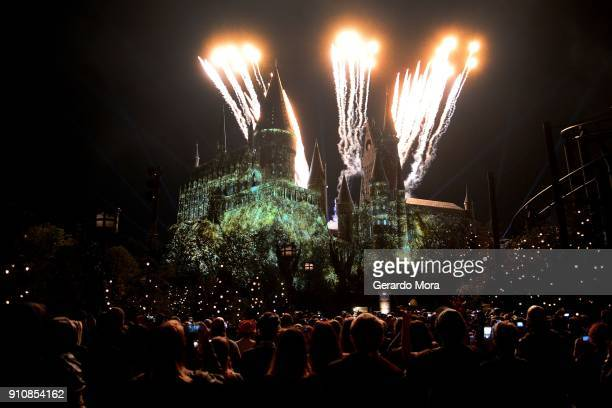 A general view of The Nighttime Lights at Hogwarts Castle in The Wizarding World of Harry Potter during the annual 'A Celebration of Harry Potter' at...