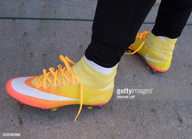 A general view of the Nike cleats worn by Carli Lloyd of the United States after the match against Colombia at Talen Energy Stadium on April 10 2016...