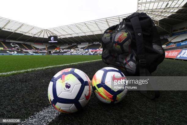A general view of the Nike Premier League balls at the Liberty Stadium prior to kick off of the Premier League match between Swansea City and...