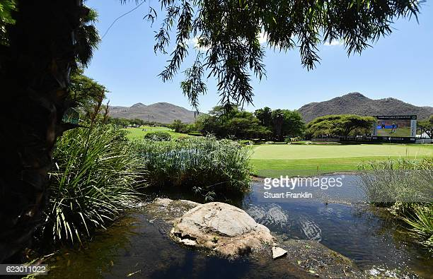 A general view of the nineth hole during the final round of The Nedbank Golf Challenge at Gary Player CC on November 13 2016 in Sun City South Africa